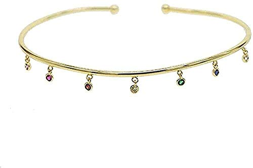 NC188 Rainbow Gold Color Colorful Teardrop Torque Choker Necklace For Women European Open Charm Jewelry