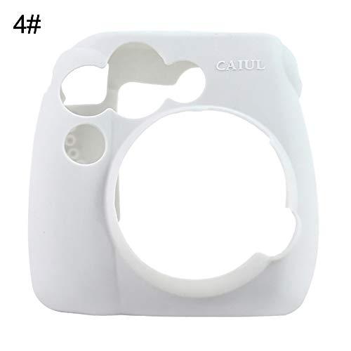 Siliconen Effen Kleur Camera Hoesje Beschermhoes voor Polaroid Instax Mini 8 9 Grey White