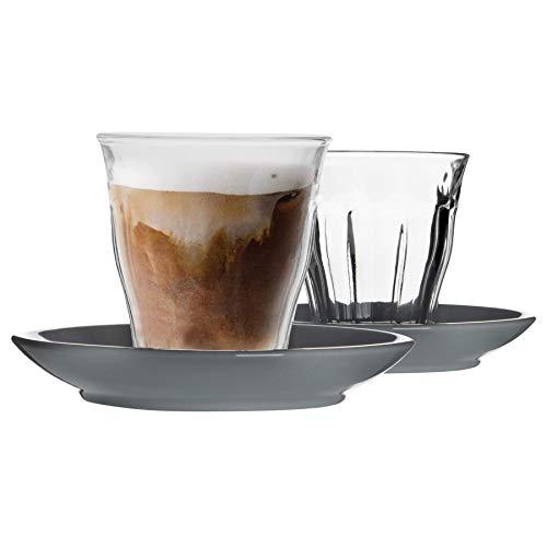 Duralex 12 Piezas de Cristal de Picardie Taza y platillo de cerámica Set - Taza del Vaso de Estilo Moderno para Latte Cappuccino - Gris - 220ml