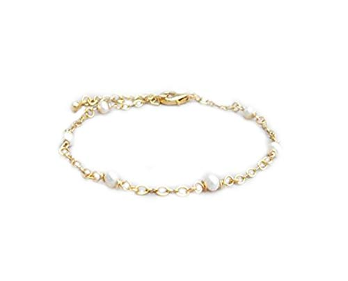 No see - Pulsera de perlas delicadas, pulsera de perlas doradas, pulsera de perlas para dama de honor