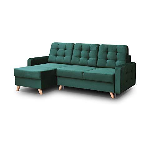 mb-moebel Ecksofa Sofa Eckcouch Couch mit Schlaffunktion und Bettkasten Ottomane L-Form Schlafsofa Bettsofa Polstergarnitur - Carla (Ecksofa Links, Dunkelgrün)