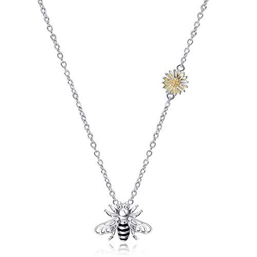 WINNICACA Bee Necklace S925 Sterling Silver Honeybee Bumble Bee Necklace Queen Bee Charms Necklace Sunflower Manchester Bee Pendant for Women Girlfriend Gifts