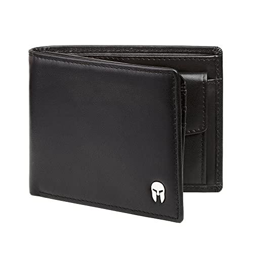 SPARTANO Portafoglio da Uomo in Vera Pelle con Protezione RFID, Portamonete, 11 Tasche per Carte di Credito, 2 x Banconote, 1 x Patente, 3 x Biglietti da Visita - ZEUS (Nero)