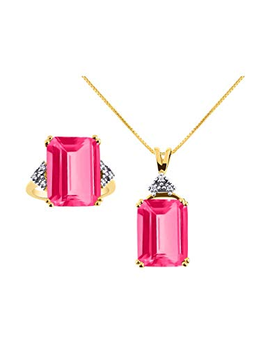 RYLOS Designer Emerald Cut Gemstone & Genuine Sparkling Diamond Ring & Necklace Matching Set in Yellow Gold Plated Silver .925-16X12MM Rectangular Color Stone