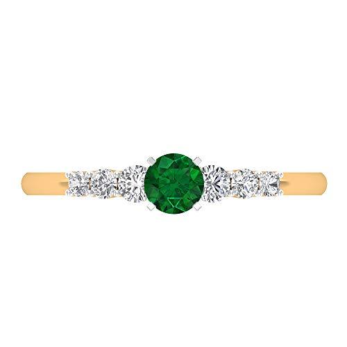Anello di fidanzamento con smeraldo da 4 mm, diamante 1/4 ct, anello solitario con pietre laterali, anello in oro da donna, 14K Giallo oro, Size:EU 60
