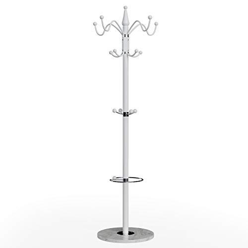 Deuba Garderobenständer Kleiderständer Weiß Schirmständer Waved 173cm 14 Haken Metall Marmor Stabil Belastbar Drehbar
