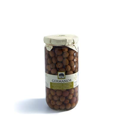 GERMANOR - Aceitunas Enteras - Variedad Arbequina Categoria Primera- No pueden faltar en tu mesa - Producto 100% Español . Frasco 720 g Neto