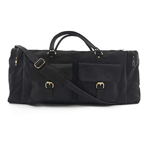 A.P. Donovan - Große Reisetasche aus schwarzem Leder | Weekender | Duffle Bag | Sporttasche | Fitnesstasche
