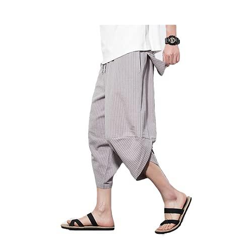 Pantalones Cortos de Lino de algodón para Hombre Verano Casual Piernas Anchas Sueltas Pantalones Largos Pantalones Cargo Pantalones de chándal Cintura elástica Pantalones de Playa de Yoga con cordón
