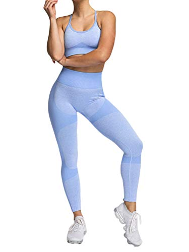 ORANDESIGNE Damen 2 Stücke Set Outfit Sport Sportanzug aus Push Up Sport BH Racerback und Yoga Leggings Set Slim Fit Traininganzug D Hellblau XS