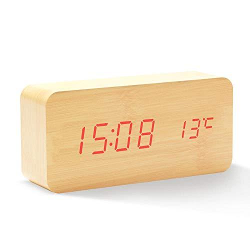 DINGANG wekker, elektronisch nachtkastje voor kinderen, creatieve spraakgestuurde led-klok, temperatuur nachtlicht in de slaapkamer met houten klok Houtkleur