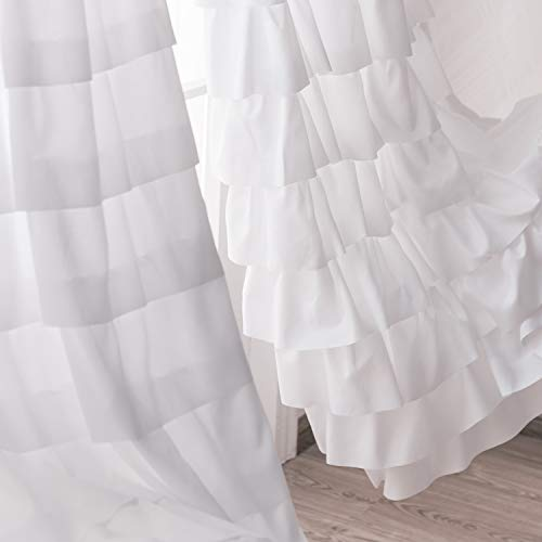 Kotile Ruffle White Curtains 63 Inch Length - Rod Pocket Shabby Chic White Ruffle Layer Curtain Panels Set of 2 Light Filter Privacy Drape for Nursery Room, 42 x 63 Inch, 2 Panels, White