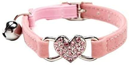 DAIXI Cat Collar with Safety Belt and Bell Heart Bling 8-11 Inches (Pink)