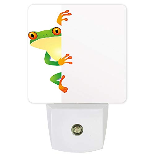 Plug-in LED Night Light Lamp Sensor-Cute Wall Frog,Automatic Dimmable Dusk-to-Dawn Square Shaped Smart Night Lights for Nursery/Bathroom/Bedroom
