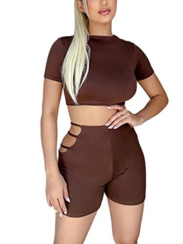 DeuYeng Traje sexy de manga corta con cuello alto para mujer, 2 piezas y pantalones cortos ahuecados