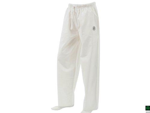 Chin Mudra Pavita - Pantalón de yoga para hombre y mujer (100% algodón ecológico), color blanco blanco blanco Talla:extra-large