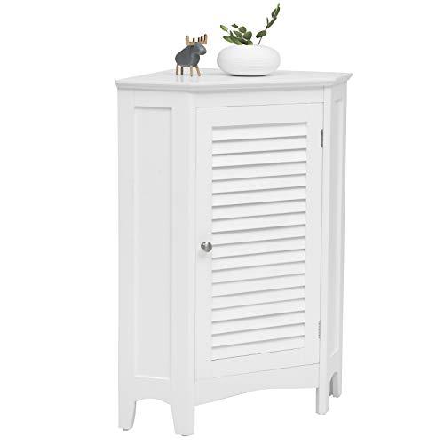 COSTWAY Eckschrank Badezimmer mit 5 stufig höhenverstellbarer Ablage, Badezimmerschrank mit Kippschutz, Badschrank mit Lamellentür, Badkommode freistehend, Sideboard weiß