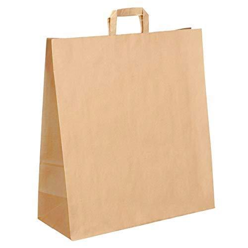 50 Grands Sacs Papier kraft marron écru avec poignée 36 litres largeur 45 cm , hauteur 47 cm, soufflet 17- sac cabas à anse plate solide, résistant papier 100g non imprimé ref UGSE33PP1F (50)