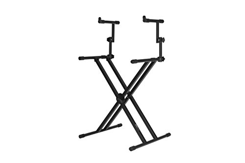 Gator Frameworks Deluxe Two Tier X-Style Keyboard Stand with Adjustable Height and Leveling Feet Black (GFW-KEY-5100X)