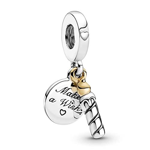 LaMenars - Colgante de deseo de pastel de cumpleaños para pulseras, cuentas colgantes de plata 925 para collares, para el día de la madre, cumpleaños, regalo de Navidad