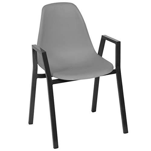 Ribelli stoel met frame van aluminium en zitkuip van kunststof tuinstoel lounge stoel kuipstoel meubels, stuk: 12 stuks