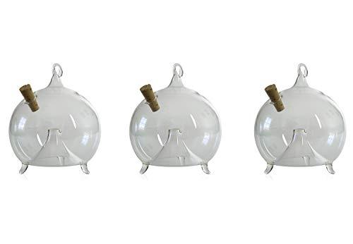 Fliegenfalle zum Stellen und Hängen 3 Stück d 8cm mundgeblasen handgeformt Lauschaer Glas das Original