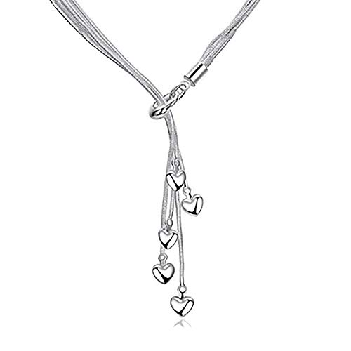 Elegant Pendant Necklace for Women Heart Shape Valentine's Day Present,925Silver-plated Silver Necklace European and American Fashion Five Snake Bone Heart-Shaped Necklace (1pc)