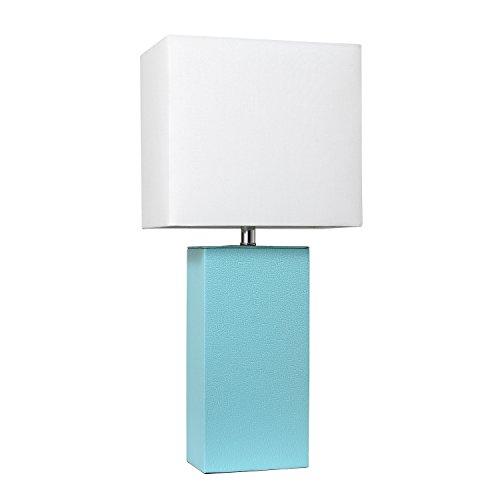 Elegant Designs LT1025-AQU Modern Leather Table Lamp with White Fabric Shade, Aqua