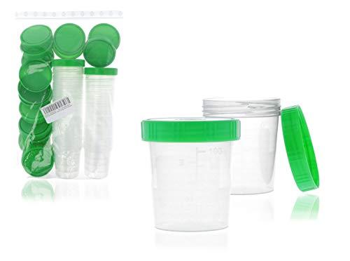 Horn Medical Urinbecher/Probenbecher mit Schraubverschluss 125ml Fassungsvermögen, Maßtabelle bis 100ml/3oz, beschriftbar (25Stk)