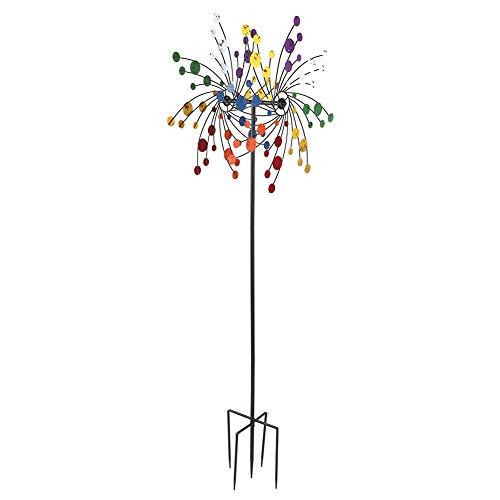 Molino de viento de metal para jardín colorido molino de viento de hierro molino de viento giratorio de viento campanilla molino de viento para jardín césped patio decoración