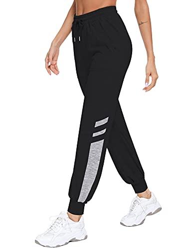 Sykooria Jogginghose Damen Baumwolle Sporthose Lang High Waist Freizeithose Side Stripe mit Taschen und Kordelzug