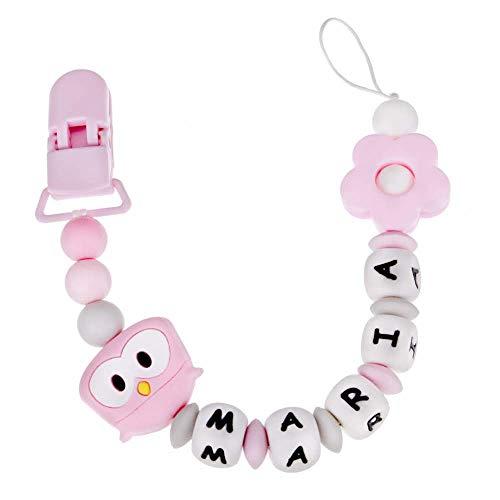 RUBY - Schnullerkette silikon, personalisierter baby-schnuller, antibakterielles silikon clip Eule (Rosa)