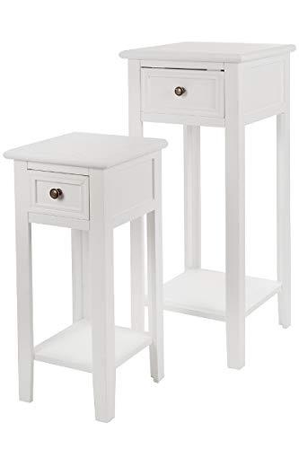 LaNatura 2er Set Telefontisch Elegance MDF Weiß
