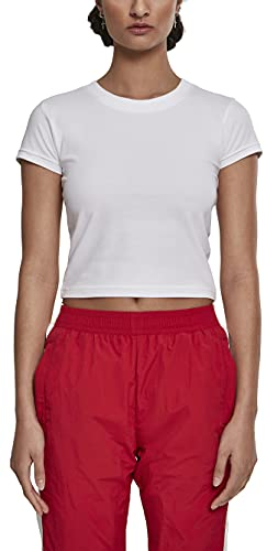 Urban Classics Ladies Stretch Jersey Cropped Tee T-Shirt, Blanc (White 00220), Small Femme