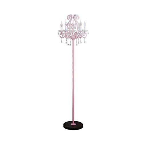Floor Lamp Europese Prinses Wind Slaapkamer Nachtlampjes lichte woonkamer Creative Retro Verticale Light huis op Decoratieve Lamp LED (Color : Pink, Size : 52cm*175cm)
