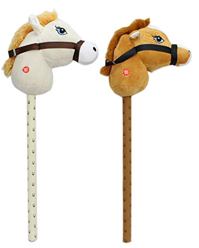 Carousel Toys and Gifts Childrens Plush Hobby Horse With Sound ~ Horse Colour Vary