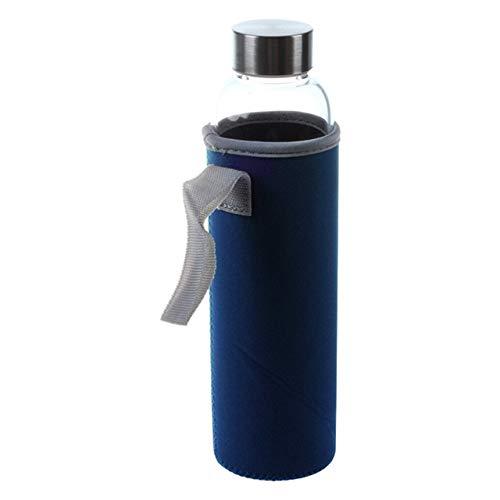 MYSdd Botella Deportiva de Vidrio con Bolsa Protectora de colador de té 550ml - 550ml, Negro