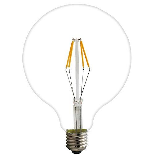4 W 6 W 8 W G125 E27 LED filamento cristal globo AC 220 V blanco cálido 2200 K 125 mm Edison tornillo LED retro filamento globo bombilla no regulable (paquete de 1, 4 W)