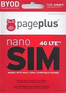 Page Plus 4G LTE Sim Nano Sim for iPhone 5,5c,5S, 6 and 6 Plus