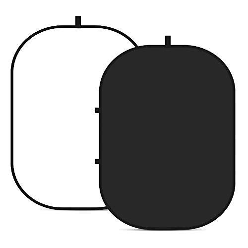 AERFA Toile de Fond Pliable Chromakey Blanc et Noir,Portable Backdrop,Double Face Pop Up Fond Blanc et Noir pour Video,Photographie de Portrait et Télévision Diamètre 150x200cm,Blanc et Noir