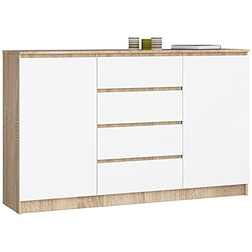 ADGO K160 2DSZ - Cómoda moderna con 2 armarios y 4 cajones (160 x 40 x 99 cm), color blanco