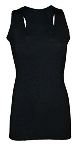 Dames Dames Plain Mouwloos Racer Spier Terug Bodycon Vest Lange Top (UK 16-18) Zwart