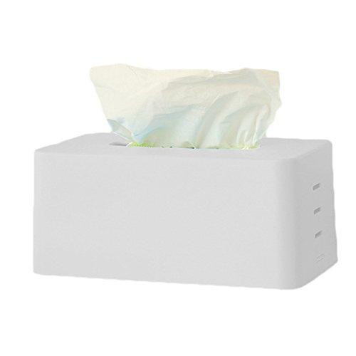 Laat caja de pañuelos rectangular de plástico soporte dispensador almacenamiento Tissue caja simple estilo, plástico, blanco, 21cm*11cm *9cm