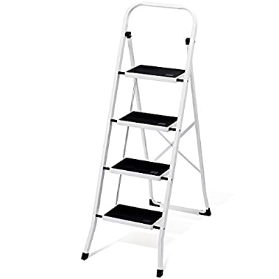 Delxo Folding 4 Step Ladder with Convenient Handgrip Anti-Slip Sturdy and Wide Pedal 300lbs Portable Steel Step Stool White and Black 4-Feet