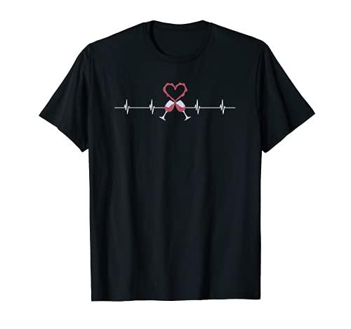 Wine Heartbeat | Regalo de vino tinto divertido | Wine Valentine Camiseta