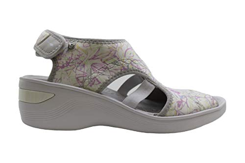 BZees Womens Dream Fabric Peep Toe Beach Platform Sandals, White, Size 8.5