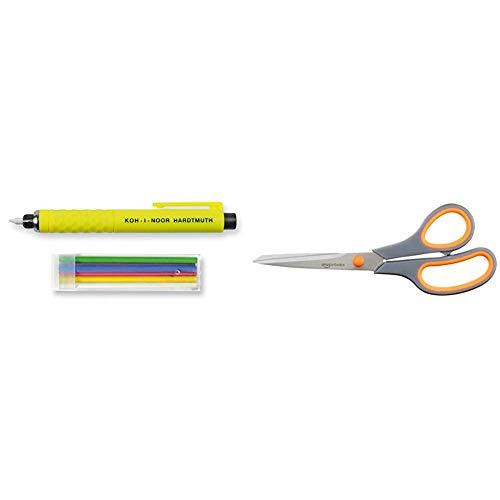 Koh-I-Noor S128PN8004BL - Bolígrafo de Jabón de Sastre 1 Paquete, Multicolor & AmazonBasics - Tijeras con mango suave y cuchilla de titanio (20 cm, pack de 1)