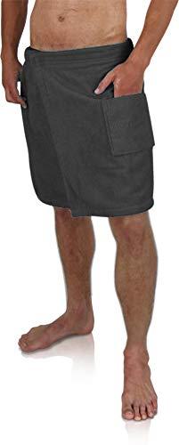 Saunakilt Sauna-Handtuch für Herren 100% Baumwolle mit praktischem Schnellverschluss Oeko-Tex® 100 Farbe Schwarz