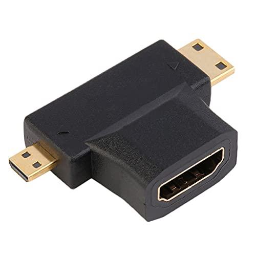 Timetided Adaptateur de Type D Compatible HDMI Femelle de Type A Femelle à mâle Mini HDMI de Type C + mâle Compatible Micro HDMI