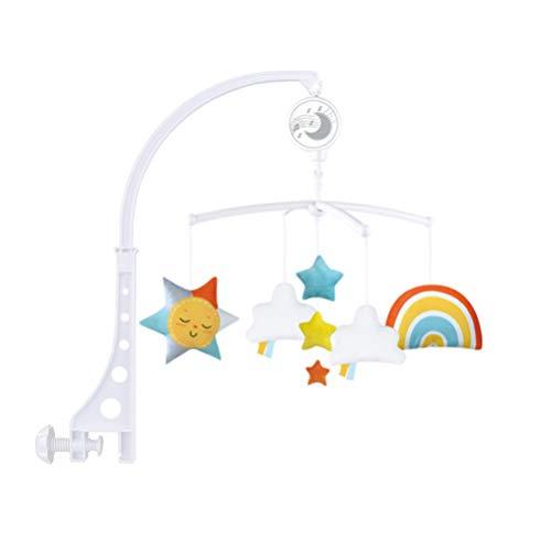 NUOBESTY Cuna Musical para Bebé Móvil Colgante Campana Giratoria Regalo de Baby Shower para Niños Y Niñas Recién Nacidos Nubes Arcoíris